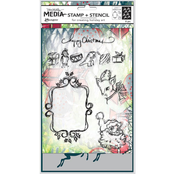 Dina Wakley Media Clear Stamps & Stencil Set - Scribbly Vintage Holiday
