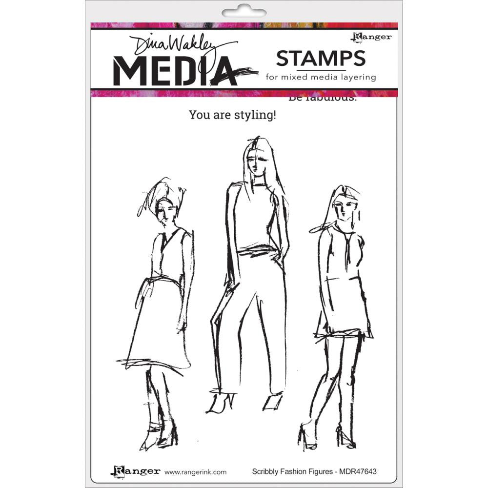 "Scribbly Fashion Icons Dina Wakley Media Cling Stamps 6""X9"""