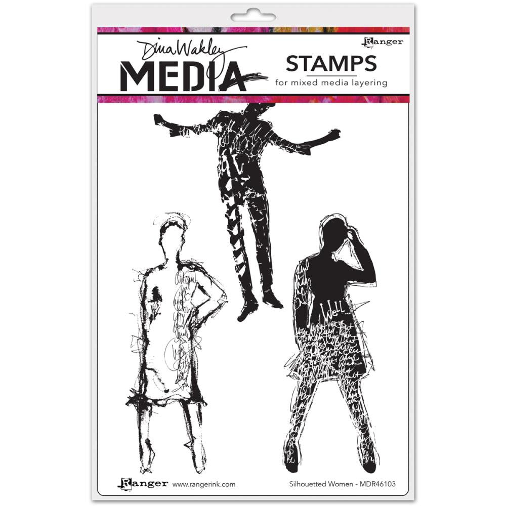 "Silhouette Women Dina Wakley Media Cling Stamps 6""X9"""