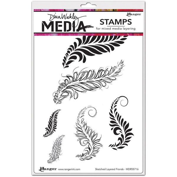 "Dina Wakley Media Cling Stamps 6""X9"" - Sketched Layered Fronds - Artified Shop"
