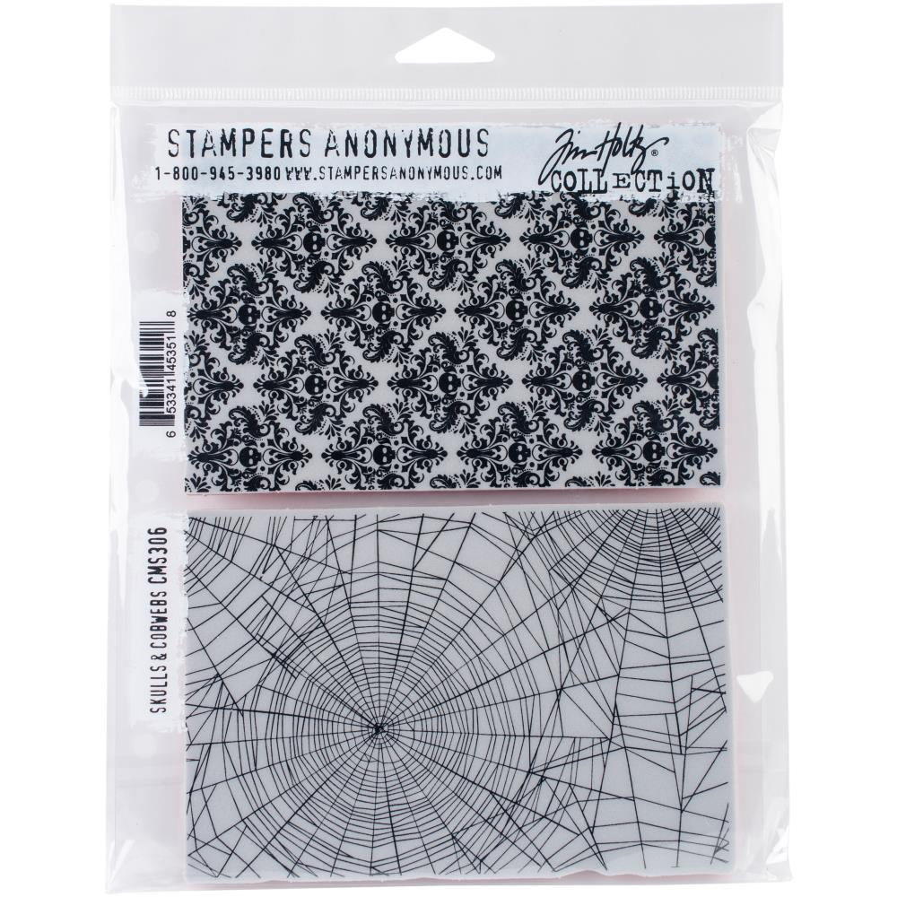 "Skulls & Cobwebs Tim Holtz Cling Stamps 7""X8.5"" - Artified Shop"