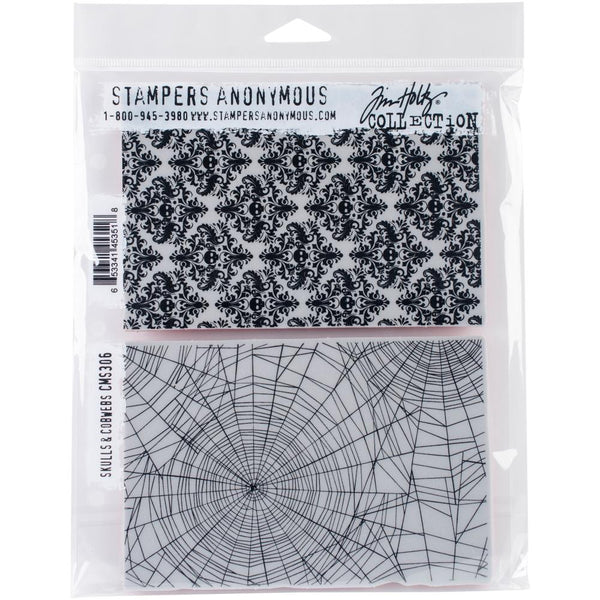 "Skulls & Cobwebs Tim Holtz Cling Stamps 7""X8.5"""