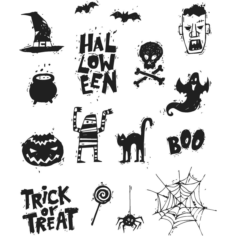 "Spooky Scribbles Tim Holtz Cling Stamps 7""X8.5"" - Artified Shop"