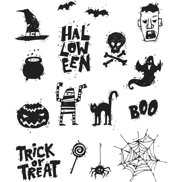 "Spooky Scribbles Tim Holtz Cling Stamps 7""X8.5"""