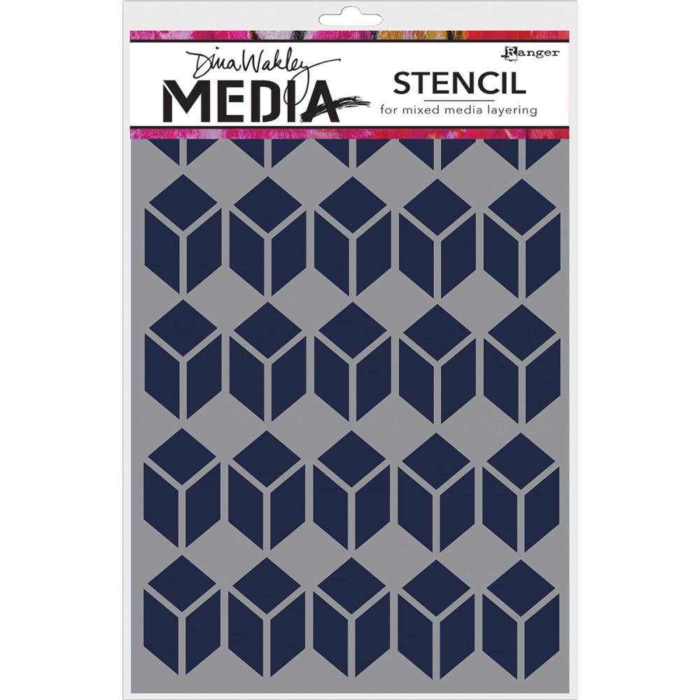 "Stacked Squares Dina Wakley Media Stencils 9""X6"""