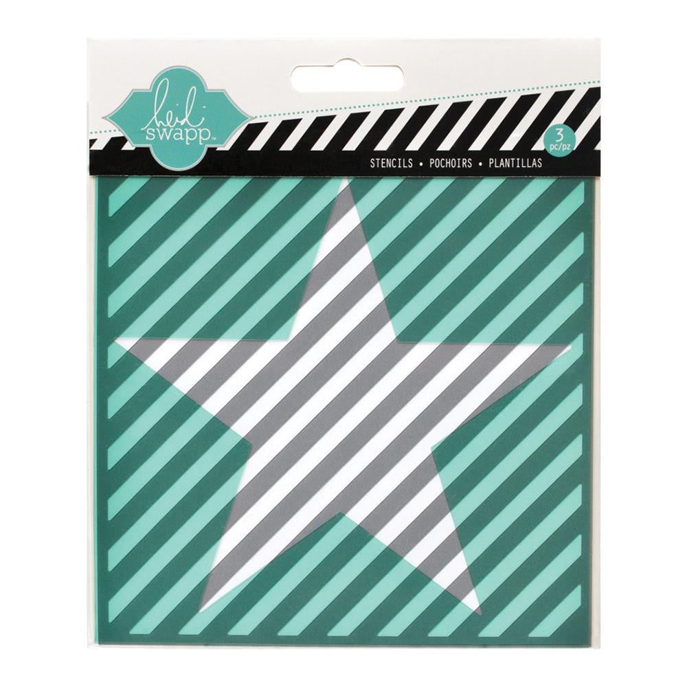 "Star, Cut Out Star & Diagonal Stripe Heidi Swapp Mixed Media Stencils 5.5""X5.5"" 3/Pkg - Artified Shop"
