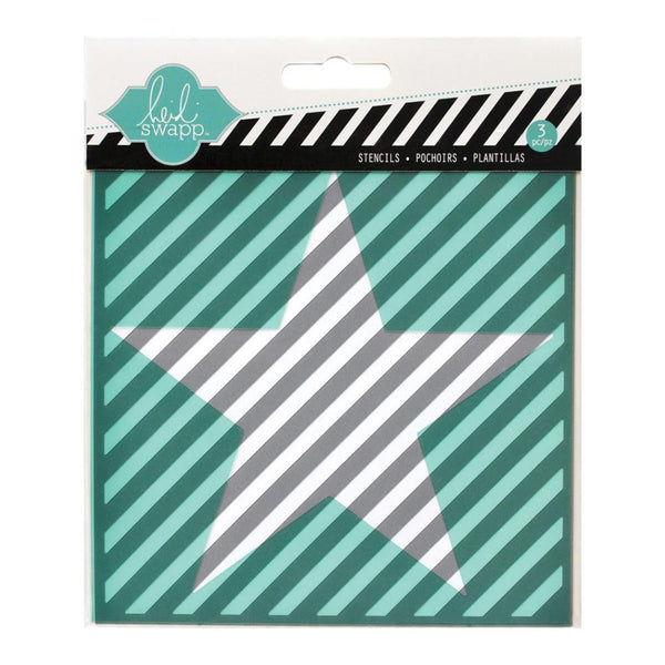"Star, Cut Out Star & Diagonal Stripe Heidi Swapp Mixed Media Stencils 5.5""X5.5"" 3/Pkg"