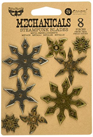 Steampunk Blades 8pk Finnabair Mechanicals Metal Embellishments - Artified Shop