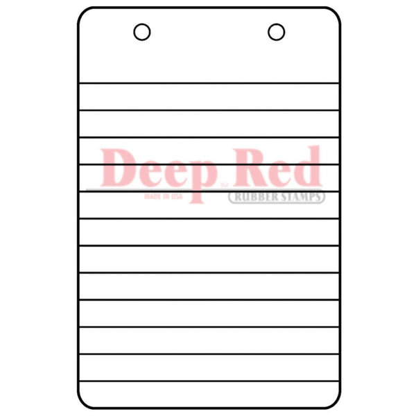 "Notebook Steno Paper Deep Red Cling Stamp 2""X3"""