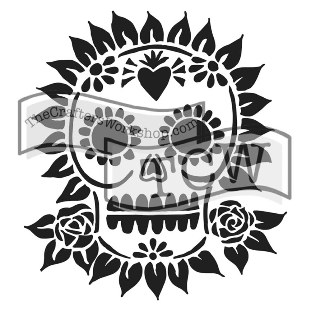 "Sugar Skull Crafter's Workshop Template 12""X12"""
