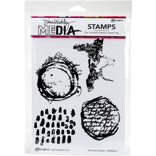 "Text and Scribbles Dina Wakley Media Cling Stamps 6""X9"" - Artified Shop"