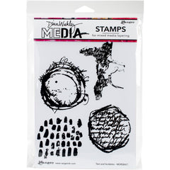 "Text and Scribbles Dina Wakley Media Cling Stamps 6""X9"""