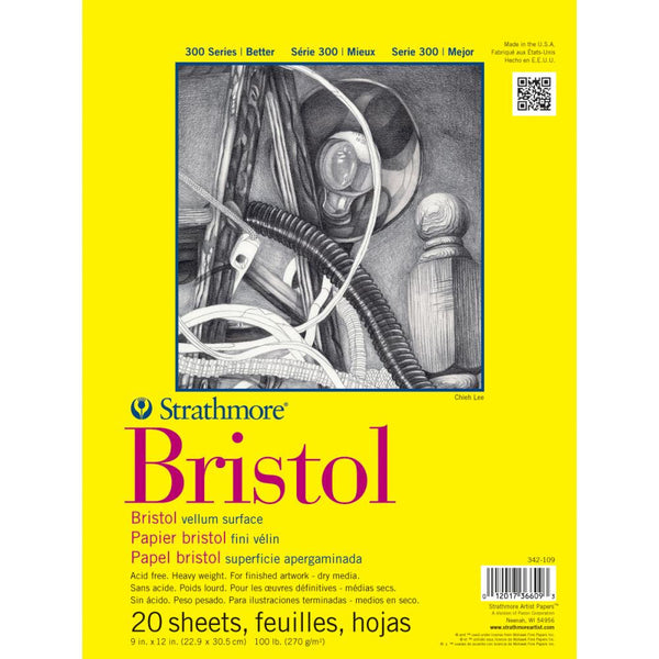 "Strathmore Bristol Vellum Paper Pad 9""X12"" - 20 Sheets"