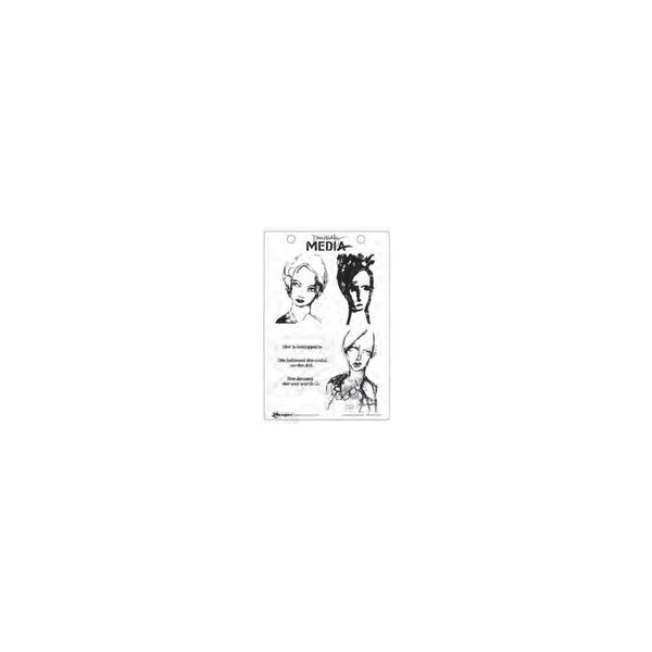 "Scribbly Woman - Dina Wakley Media Cling Stamps 6 x 9"" - Artified Shop"