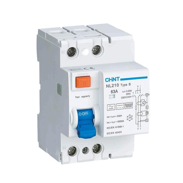 Chint 63A DC earth leakage 30mA, Type B 10KA RCD (2 & 4 Pole Variants available)