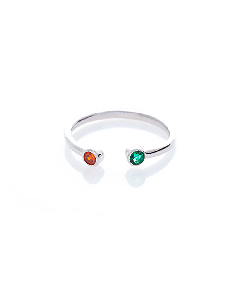Swarovski Crystal Luxe Ring - Emerald & Light Garnet