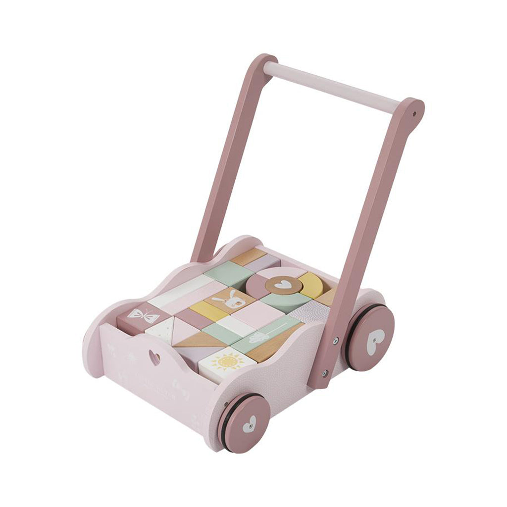 Little Dutch Baby Walker/Block Trolley - Pink - 1