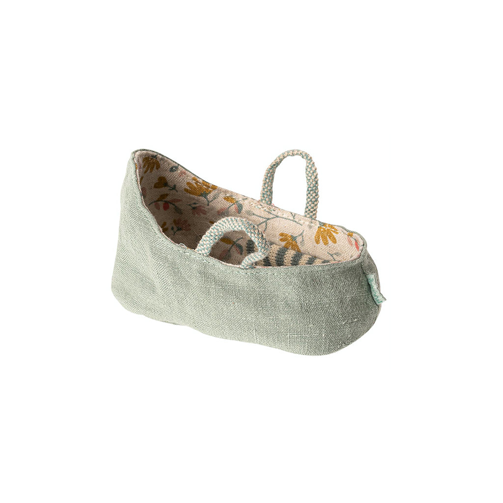 Maileg MY Baby Carry Cot - Dusty Green - 1