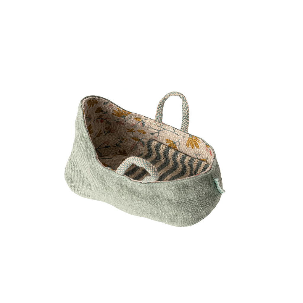 Maileg MY Baby Carry Cot - Dusty Green - 2