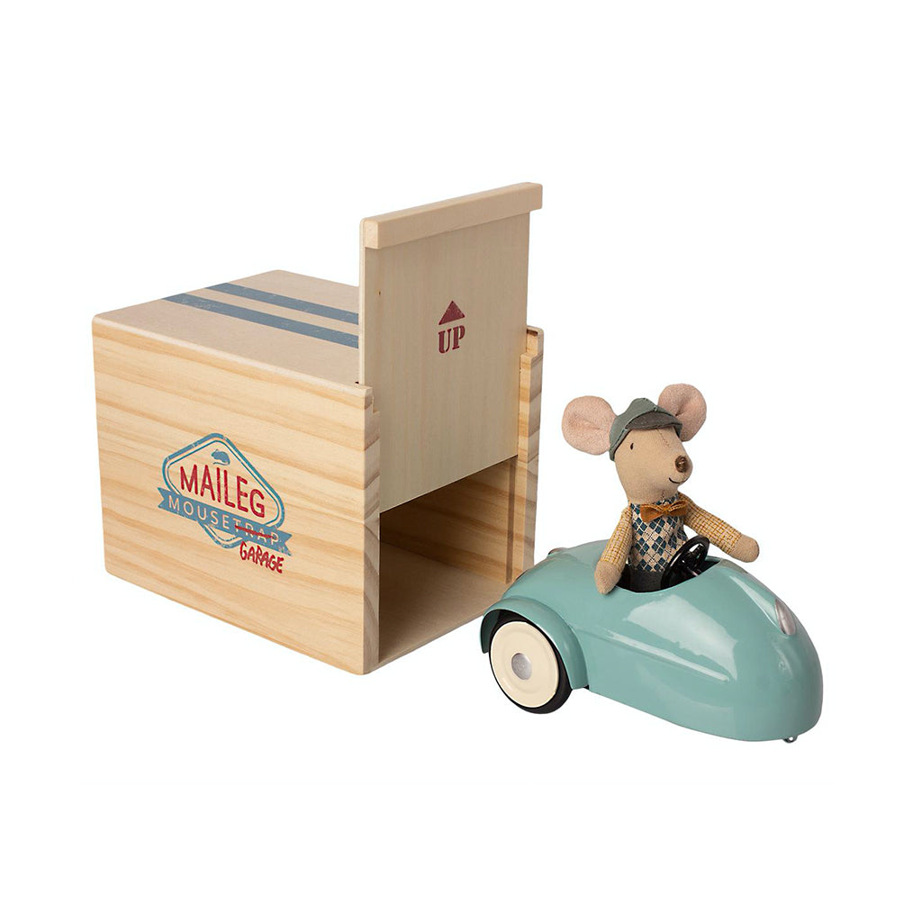 Maileg Mouse Car with Garage - Blue - 1