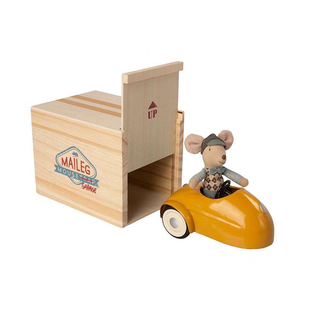 Maileg Mouse Car with Garage - Yellow - 1