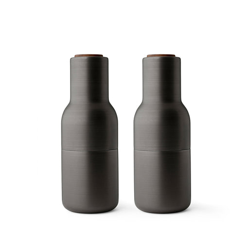 Menu Bottle Grinders With Walnut Lids - Bronzed Brass - 1