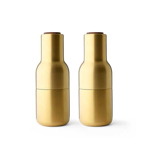 Menu Bottle Grinders With Walnut Lids - Brushed Brass - 1