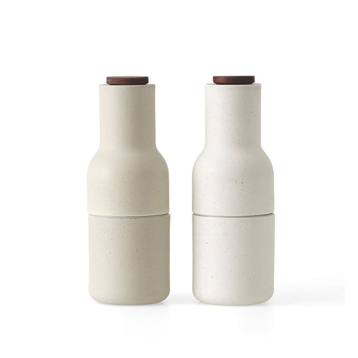 Menu Bottle Grinders With Walnut Lids - Glazed Ceramic - Sand