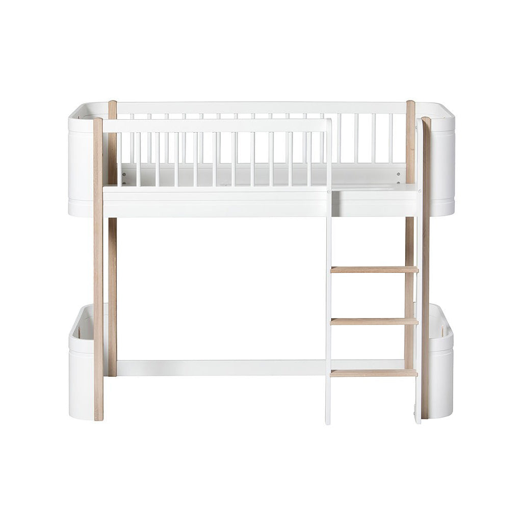 Oliver Furniture Wood Mini+ Low Loft Bed White/Oak - 1