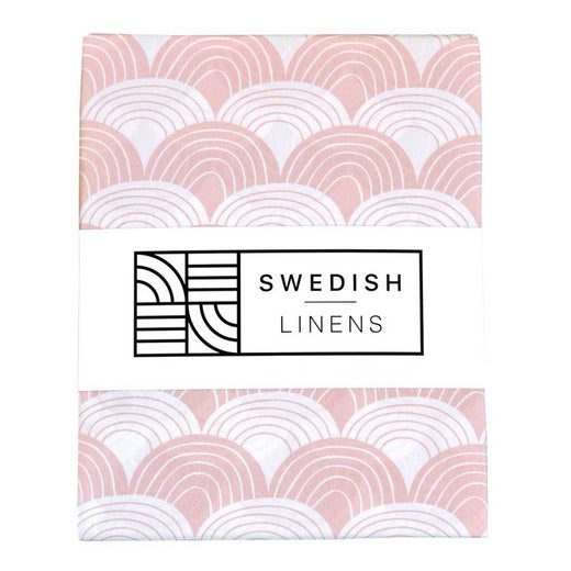 Swedish Linens Rainbows Fitted Sheet - Nudy Pink - 2