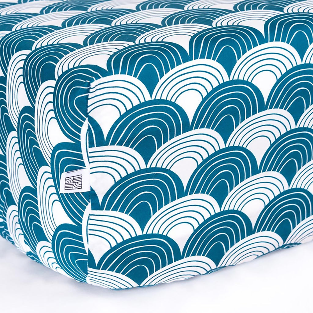 Swedish Linens Rainbows Fitted Sheet - Moroccan Blue - 3