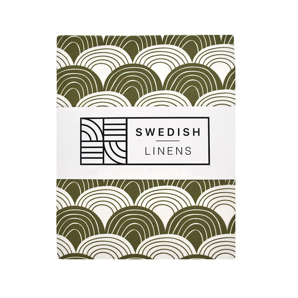 Swedish Linens Rainbows Fitted Sheet - Olive Green - 1