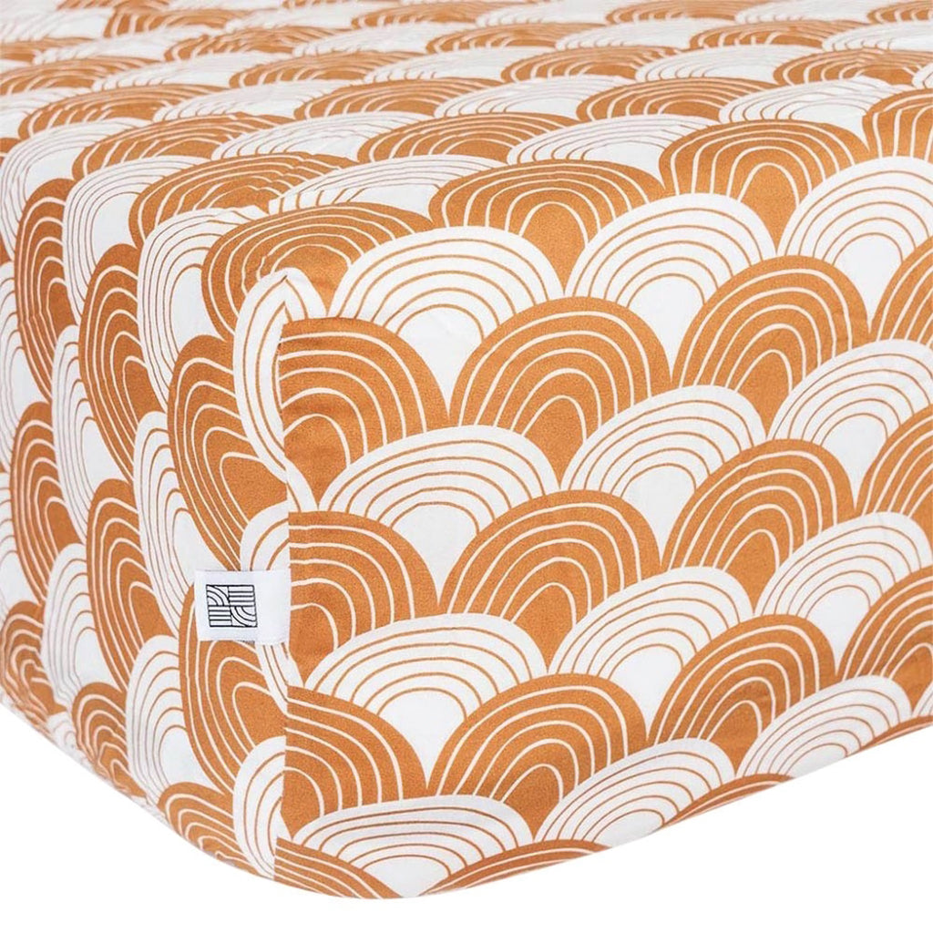 Swedish Linens Rainbows Fitted Sheet - Cinnamon Brown - 1