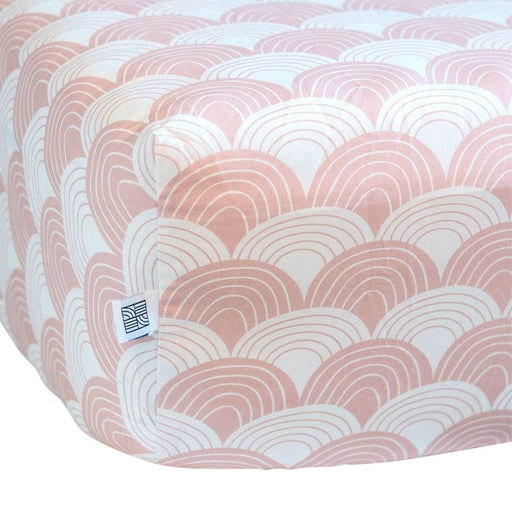Swedish Linens Rainbows Fitted Sheet - Nudy Pink - 1