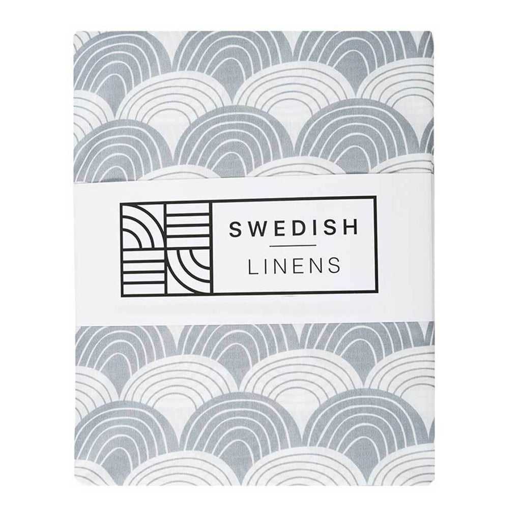Swedish Linens Rainbows Fitted Sheet - Tranquil Grey - 2