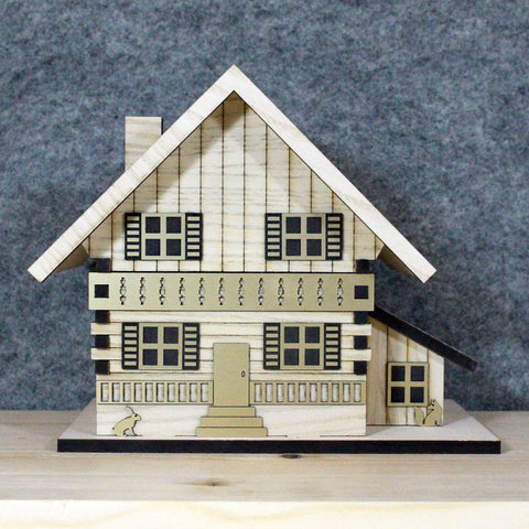 Chalet Musical Jewellery Box - Wood Finish