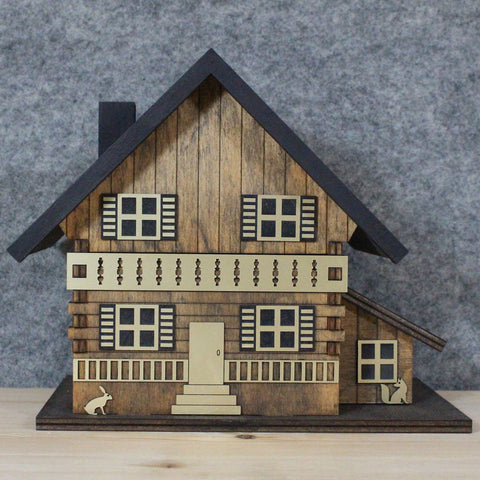 Chalet Musical Jewellery Box - Hand Painted Antique Brown / Grey