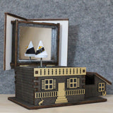 Chalet Musical Jewellery Box - Hand Painted Black / White