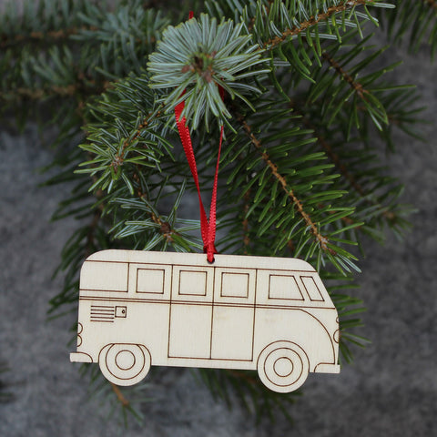5 x Camper Van Tree Decorations / Gift Tags