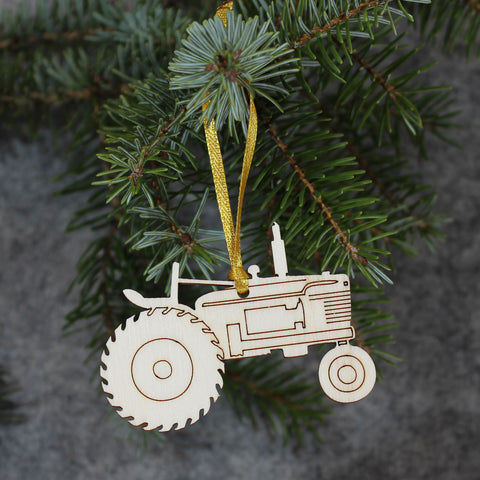 5 x Tractor Tree Decorations / Gift Tags
