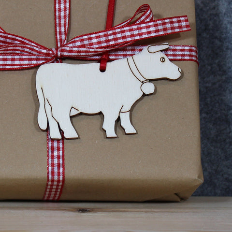 5 x Alpine Cow Tree Decorations / Gift Tags