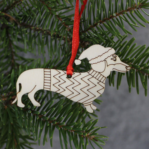 5 x Dachshund Tree Decorations / Gift Tags