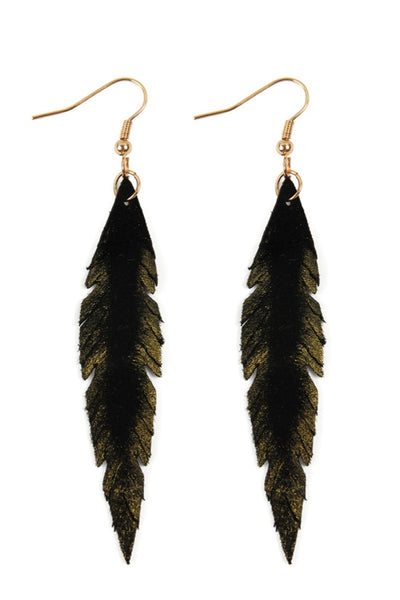 Leather Leaf Earrings *Black*