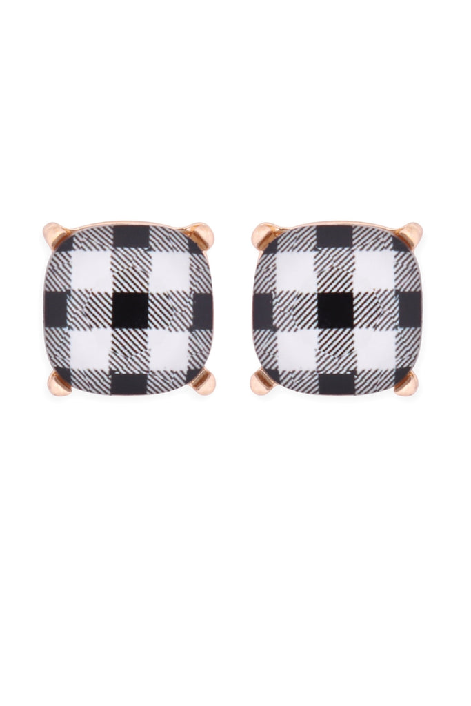Gingham Stud Earrings