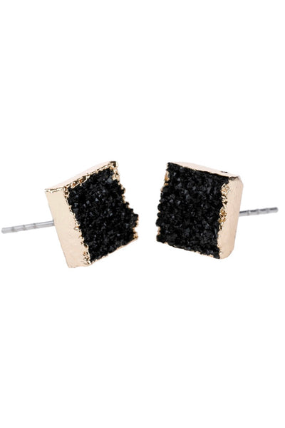 Black Druzy Stone Earrings