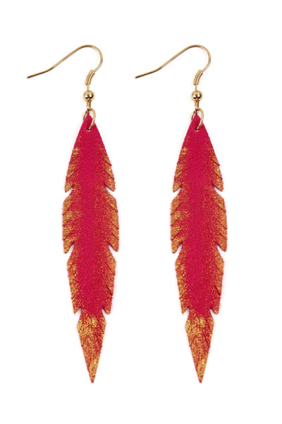 Leather Leaf Earrings *Fushia*