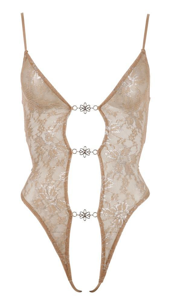 Abierta Fina By Cottelli Collection Nude and Silver Lace Body