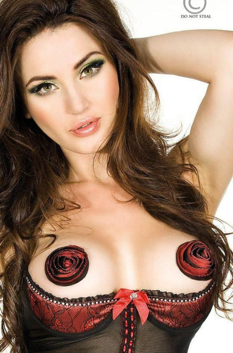 Black & Red Embroided Nipple Covers