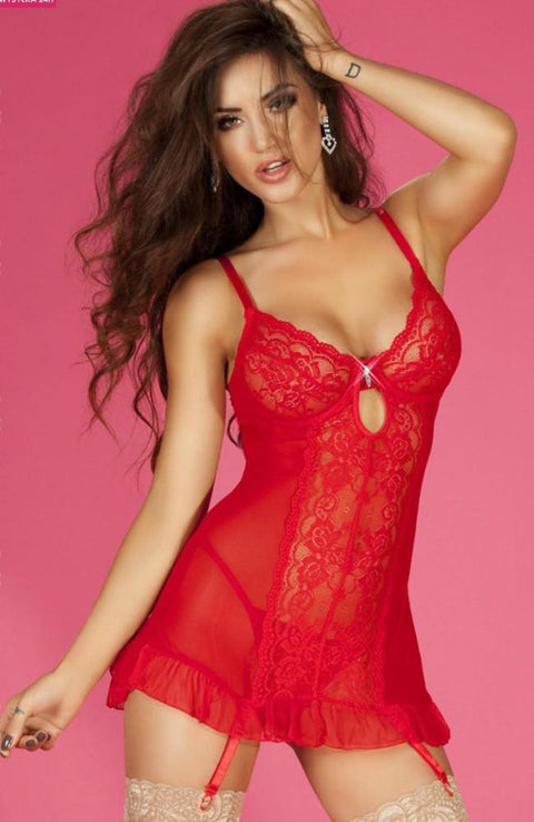 Red Lace Babydoll With Thong
