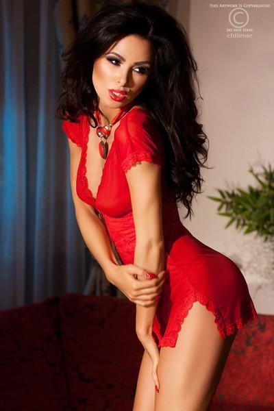 Red Lace And Tulle Chemise With Pendant 12-14
